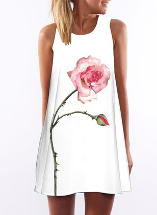 Polyester Floral Sleeveless Above Knee Vintage Dresses