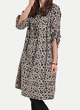 Polyester Floral Half Sleeve Knee-Length Casual Dresses