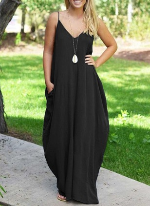 Cotton Solid Sleeveless Maxi Casual Dresses