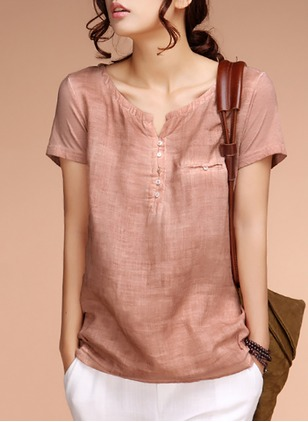 Cotton Linen Solid Others Short Sleeve Casual T-shirts & Vests