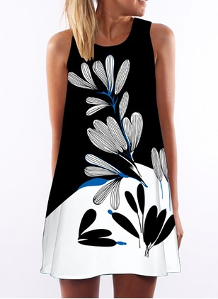 Polyester Floral Sleeveless Above Knee Casual Dresses  ...