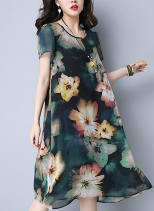 Chiffon Floral Short Sleeve Mid-Calf Casual Dresses