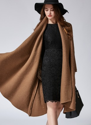Wool & Wool Blend Brown Long Long Sleeve Other Coats & Jackets