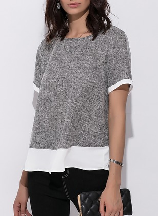 Cotton Linen Chiffon Solid Round Neck Short Sleeve Casual T-shirts & Vests