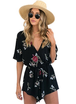 Polyester Floral Half Sleeve Jumpsuits & Rompers