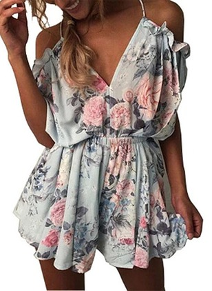 Cotton Blends Floral Short Sleeve Jumpsuits & Rompers