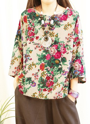 Cotton Linen Floral Round Neck Long Sleeve Casual T-shirts & Vests