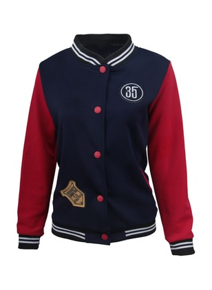 Red Dark Blue Short Long Sleeve Stand Collar Bomber & Moto Coats & Jackets