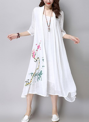 Cotton Linen Floral Half Sleeve Mid-Calf Casual Dresses  ...