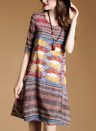 Cotton Stripe Half Sleeve Knee-Length Elegant Dresses