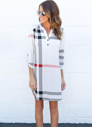Polyester Stripe Long Sleeve Above Knee Casual Dresses