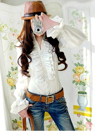 Solid Casual Cotton High Neckline Long Sleeve Blouses