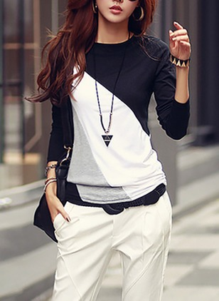 Cotton Color Block Round Neck Long Sleeve Casual T-shirts & Vests