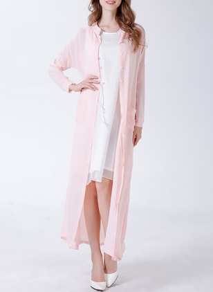 Cotton & Cotton Blend Pink Long Long Sleeve Round Neck Coats & Jackets