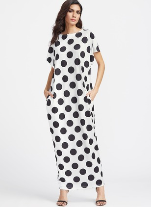 Polyester Spandex Polka Dot Short Sleeve Maxi Casual Dresses