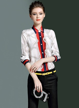 Color Block Casual Silk Collar Half Sleeve Blouses