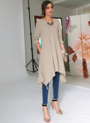 Cotton Solid Round Neck Long Sleeve Elegant T-shirts & Vests