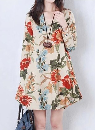 Linen Floral Long Sleeve Above Knee Elegant Dresses