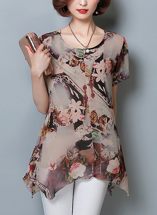 Cotton Floral Round Neck Short Sleeve Casual T-shirts & Vests