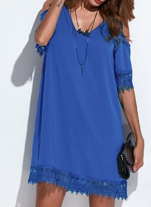 Polyester Solid Short Sleeve Above Knee Casual Dresses  ...