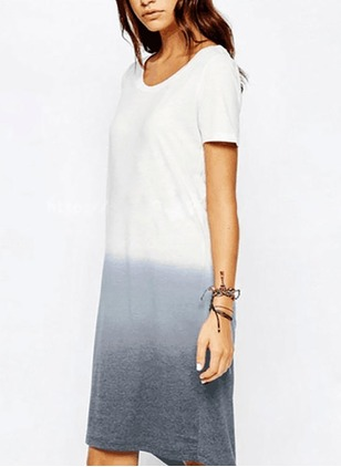Cotton Blends Solid Short Sleeve Mid-Calf Casual Dresses
