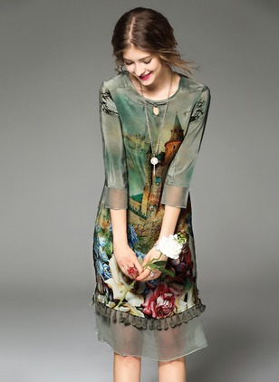Chiffon Floral 3/4 Sleeves Knee-Length Vintage Dresses  ...