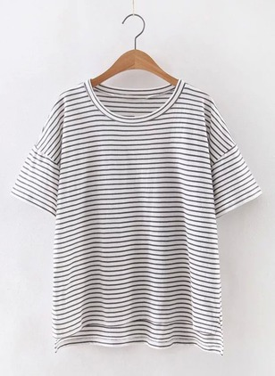 Cotton Stripe Round Neck Short Sleeve Casual T-shirts & Vests