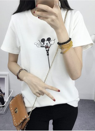 Cotton Animal Round Neck Short Sleeve Cute T-shirts & Vests