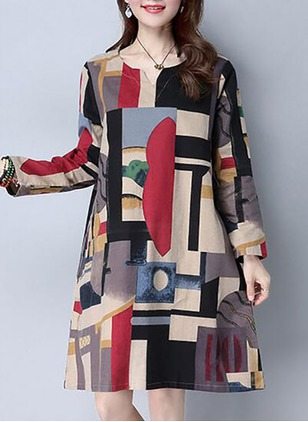 Cotton Linen Color Block Long Sleeve Knee-Length Casual Dresses