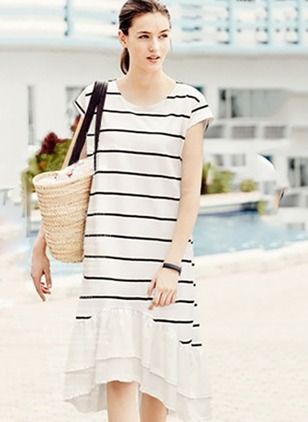 Cotton Blends Stripe Short Sleeve High Low Cute Dresses