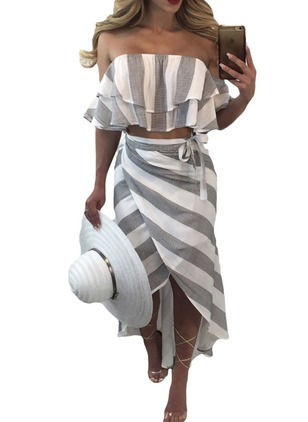 Cotton Stripe Cap Sleeve High Low Sexy Dresses