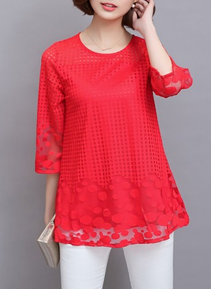 Geometric Vintage Polyester Round Neckline 3/4 Sleeves Blouses
