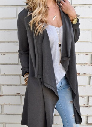 Cotton & Cotton Blend Black Dark Gray Long Long Sleeve Other Coats & Jackets