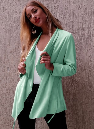 Polyester Apricot Blue Green Long Long Sleeve Other Coats & Jackets