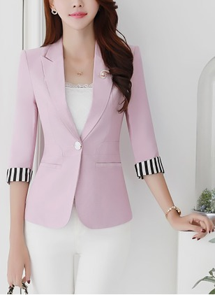 Polyester Pink Lilac White Yellow Short 3/4 Sleeves Collar Coats & Jackets