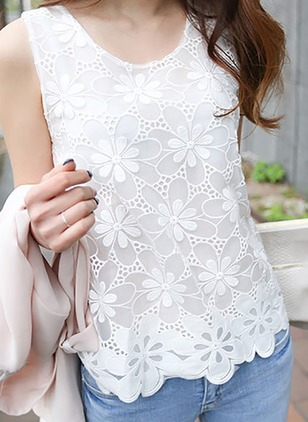 Cotton Floral Round Neck Sleeveless Casual T-shirts & Vests