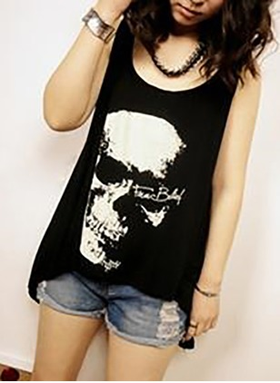 Cotton Round Neck Sleeveless Sexy T-shirts & Vests