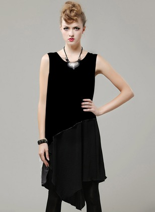 Polyester Color Block Sleeveless High Low Casual Dresses