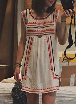 Polyester Stripe Sleeveless Above Knee Casual Dresses