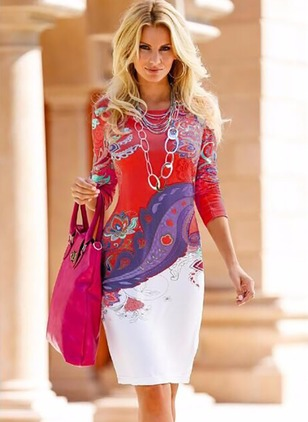 Polyester Floral Long Sleeve Knee-Length Casual Dresses