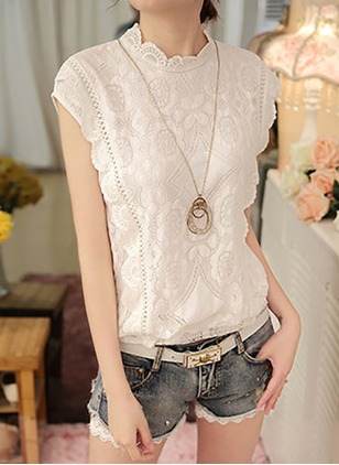 Chiffon Lace Solid Round Neck Sleeveless Casual T-shirts & Vests