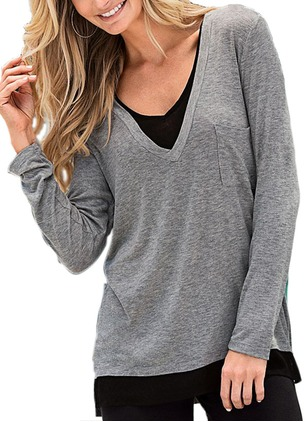 Polyester V-Neckline Long Sleeve Casual T-shirts & Vests