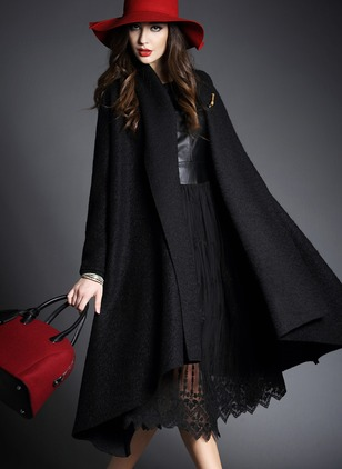 Wool & Wool Blend Polyester Black Brown Long Long Sleeve Other Coats & Jackets