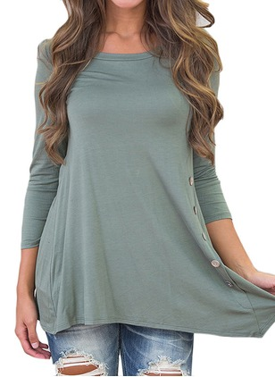 Polyester Solid Round Neck 3/4 Sleeves Casual T-shirts & Vests