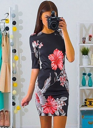 Polyester Floral Half Sleeve Above Knee Casual Dresses