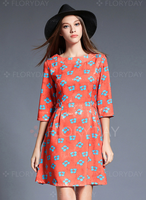 Cotton Floral 3/4 Slee...