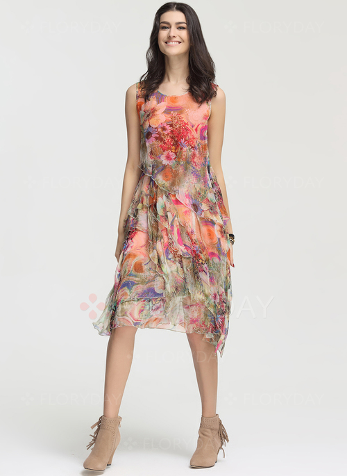 Floryday - Silk Floral Sleeveless Knee-Length Vintage Dresses ...