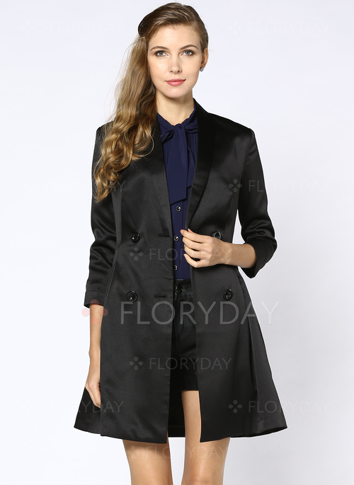 Floryday - Cotton & Cotton Blend Black Long 3/4 Sleeves Collar ...