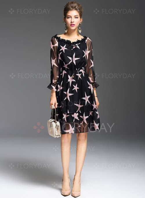Floryday - Polyester Floral 3/4 Sleeves Knee-Length Casual Dresses ...