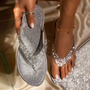 Women's Sequin Flats Flat Heel Slippers (4126571)